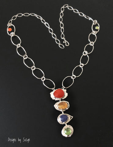 Vibrant Juicy Carnelian, Citrine, Tanzanite and Peridot pendant with handmade chain