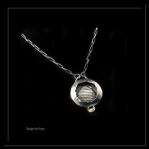 """Sail Away"" Argentium Silver and Keum Boo Pendant"