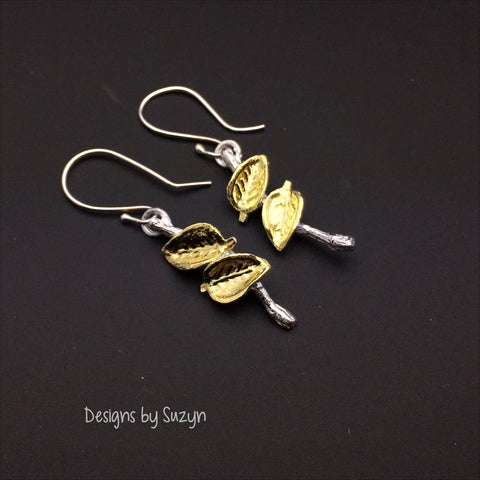 Golden Leaf Twig Earrings, Designs by Suzyn