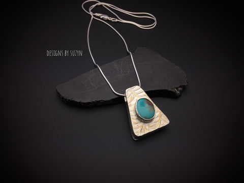 Reversible Sterling silver and turquoise pendant with snake chain