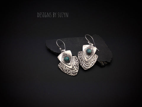 Earrings, silver, tribal, artisan, shield, handmade,  Dangle earrings,  turquoise stones, hypoallergenic earwires