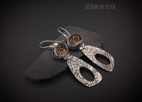 Silver and faux fire opal resin lightweight dangle artisan handcrafted earrings, designs by suzyn, hypoallergenic earwires