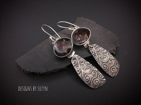 Lightweight dangle artisan handcrafted earrings, designs by suzyn, hypoallergenic earwires