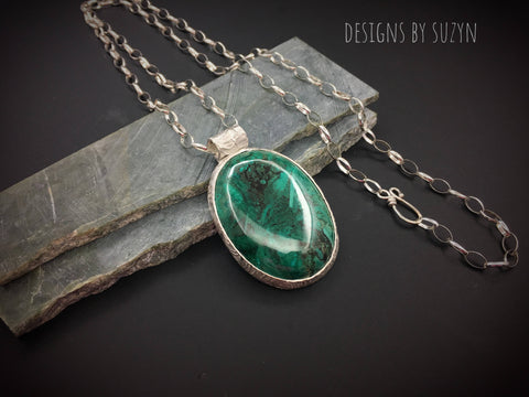 Sterling silver and large oval Chrysocolla pendant with large sterling silver Rolo chain