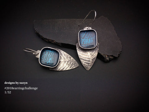 Sterling silver and blue resin lightweight artisan handcrafted teardrop  earrings, designs by suzyn, hypoallergenic earwires