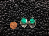 Sterling silver, turquoise Resin, lightweight artisan handcrafted  earrings, designs by suzyn, hypoallergenic earwires