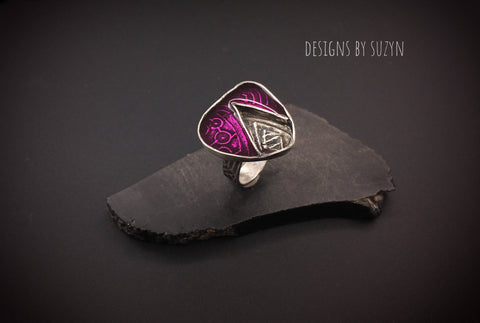 Sterling silver and amethyst/pink resin artisan handcrafted ring,  designs by suzyn, statement jewelry