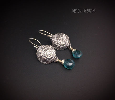 Blue Flourite  and  sterling silver dark patina dangle earrings, handmade, designs by suzyn