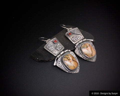 Earrings, silver, tribal, artisan, handmade, Picasso jasper, dark carnelian. Earrings with hinges