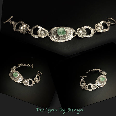 Statement bracelet, Beautiful Roman Glass and Sterling silver Floral link bracelet, botanical, floral, designs by suzyn