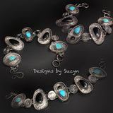 Chunky, large, bold sterling silver, turquoise and black onyx link bracelet, one of a kind OOAK, statement bracelet or neckpiece