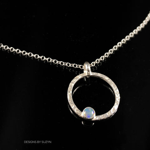 Minimalist circle necklace, with, Opal, Swiss Blue Topaz, Peridot, Amethyst