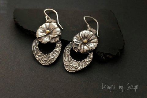 Earrings, silver, botanical, flowers, floral, small dangle earrings with a pop of gold