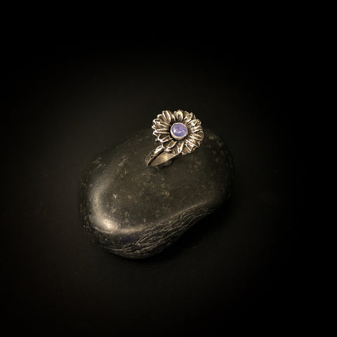 Size 8 ON SALE. Tanzanite flower ring, December birthstone, purple stone, dainty sterling ring,