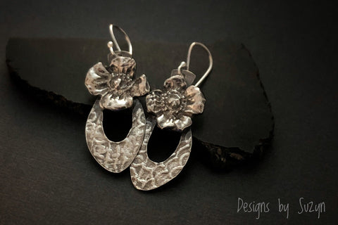 Earrings, silver, botanical, flowers, floral, Dangle earrings, handmade, designs by suzyn