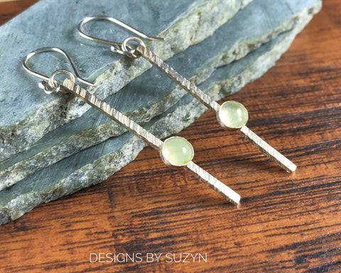 Sticks and Stones Argentium Earrings, minimalist handmade,  Dangle earrings, Prehnite, light green stone, long earrings