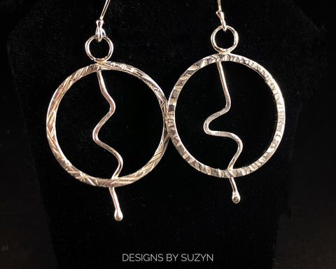 Circle, hoop Argentium Earrings, handmade, earrings, large, lightweight