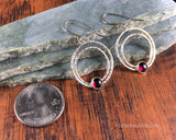 Circle, hoop Argentium Earrings, handmade, earrings, large, lightweight, garnet, January birthstone