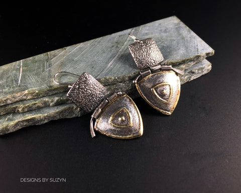 Lightly oxidized silver Earrings, Artisan, Silver, Gold  Hinged Dangle Earrings