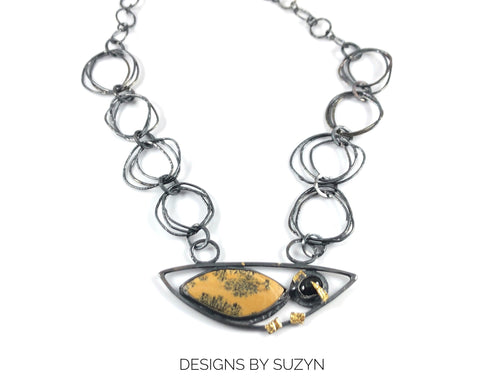 Showstopper Statement piece Sterling silver, Yellow and black Opalite, Black Star Diopside  hand fabricated chain, necklace