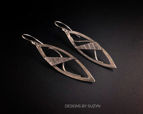 Sterling silver leaf shape lightweight earrings, designs by Suzyn