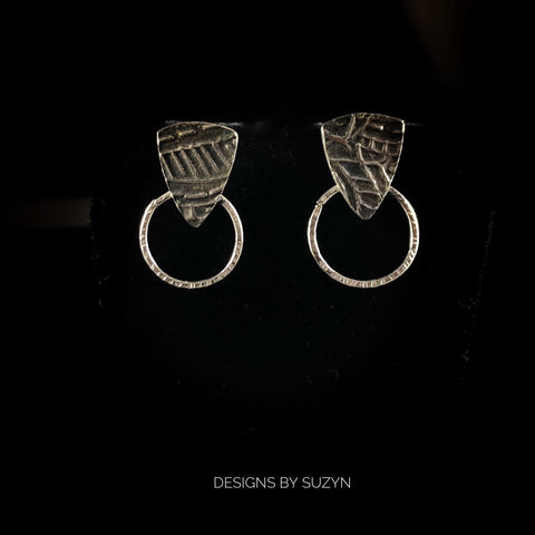 SMALL Argentium silver lightweight artisan handcrafted post  earrings, designs by suzyn, small earring