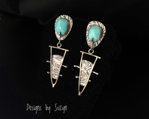 Earrings, silver, tribal, artisan, handmade, Turquoise post earrings, Sleeping Beauty Turquoise, one of a kind