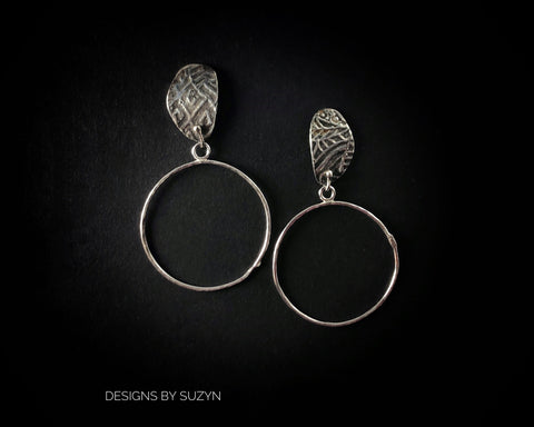 Hoop Earrings, Sterling and Argentium silver lightweight artisan handcrafted post  hoop earrings, designs by suzyn
