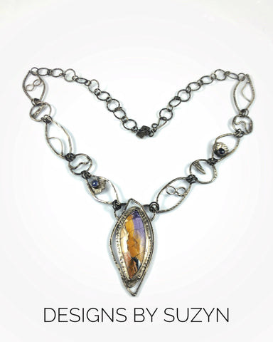 Showstopper Statement piece Sterling silver, Tiffany Stone, Tanzanite, Iolite, hand fabricated chain, necklace