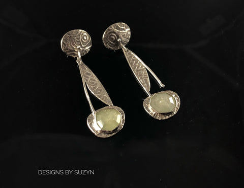 Fancy Rosecut light green sapphire and sterling silver lightweight post, dangle  Earrings, Designsbysuzyn, artisan made, one of a kind