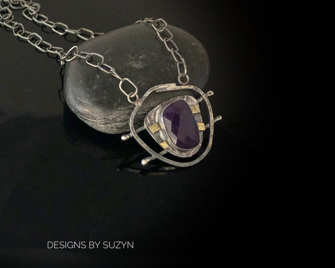 "Sterling silver freeform pendant with Rosecut Amethyst, gold accents, with sterling Silver adjustable 18-20"" rectangle chain"