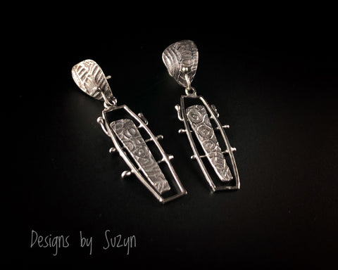 Earrings, silver, tribal, artisan, handmade,  post earrings, one of a kind