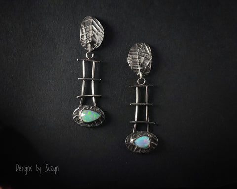 Flashy Rose cut AAA Opals and sterling silver, long lightweight Earrings, silver, artisan, handmade, post earrings