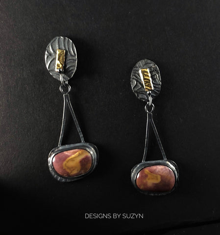 Mookaite  Jasper, Oxidized Silver Long dangle post earrings, Keum Boo, OOAK,