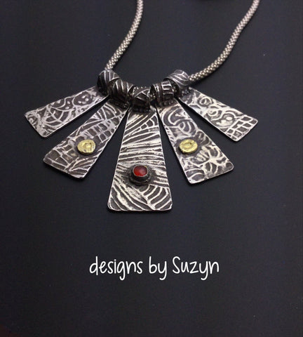 Sterling and Fine Silver Textured Multi Piece Necklace with chain, gold and carnelian stones