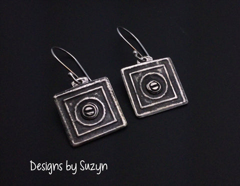 Artisan handmade square silver earrings, steampunk, dangles, small earrings, oxidized, hypoallergenic earwires