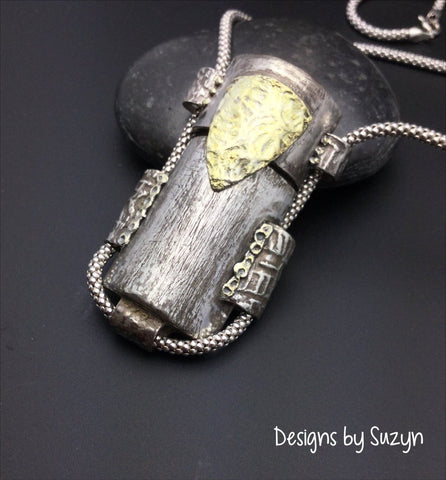Vessel, silver pendant, primitive, one-of-a-kind statement piece, 22 k gold