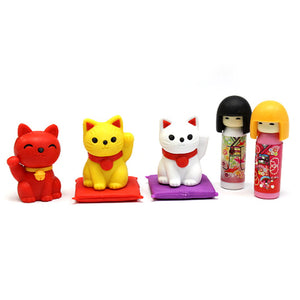 IWAKO Japanese Erasers - Kokeshi Dolls & Maneki Cat Set