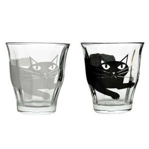 Black and White Dear Cat Glass Cups 7.7oz - Perfect Cat Lovers Gift
