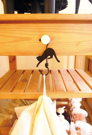 Black and White Jumping Cat Hanger Hooks for Decoration