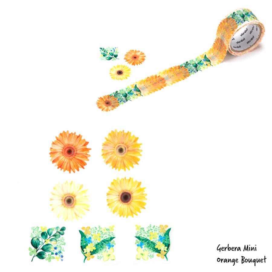 Bande Masking Tape Flowers Stickers 3 Items Bundle: Gerbera Mini Bouquet Pink (BDA217), Gerbera Mini Bouquet Green(BDA215) & Gerbera Mini Bouquet Orange(BDA216)
