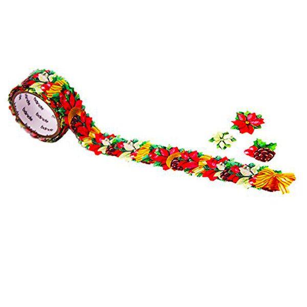 Bande Masking Roll Sticker Masking Tape Poinsettia Christmas leaves for Scrapbooking DIY (BDA259)