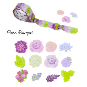 Bande Flowers Stickers Set of 1 Rose Bouquet (BDA 270) and 1 Classic Blue Rose (BDA 229) Bande Tape, with a Message Card