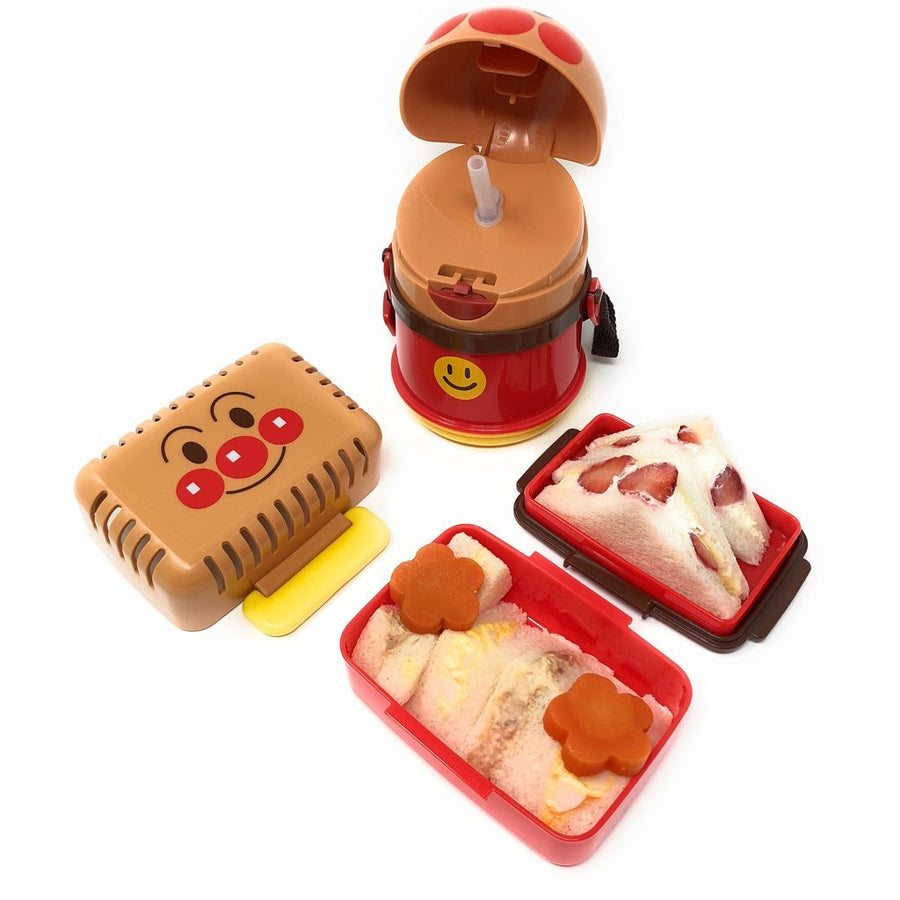Anpanman Picnic Lunch Box 2 Tiers and Anpanman Water Bottle with Straw (13 oz)
