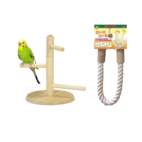 Sanko Bird Cotton Rope Perch and Natural Wood Rotary Perch Tower Bundle (B05)