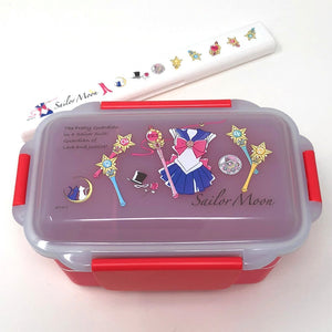 Sailor Moon Kawaii Bento Lunch Box 2 Tiers - with Sailor Moon Chopsticks Set - Microwave-safe - Dishwasher-safe