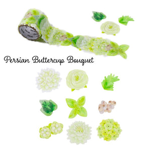 Bande Flowers Stickers Set of 1 Dahlia Bouquet (BDA 272) and 1 Persian buttercup Bouquet (BDA 273) Bande Tape, with a Message Card