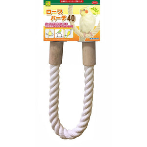 Sanko Bird Cotton Rope Perch and Natural Wood Rotary Perch Tower Bundle