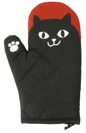 Mitten Cat Man Heat Resistant kitchen Cotton & Polyester Gloves Black Free Size (1 piece)