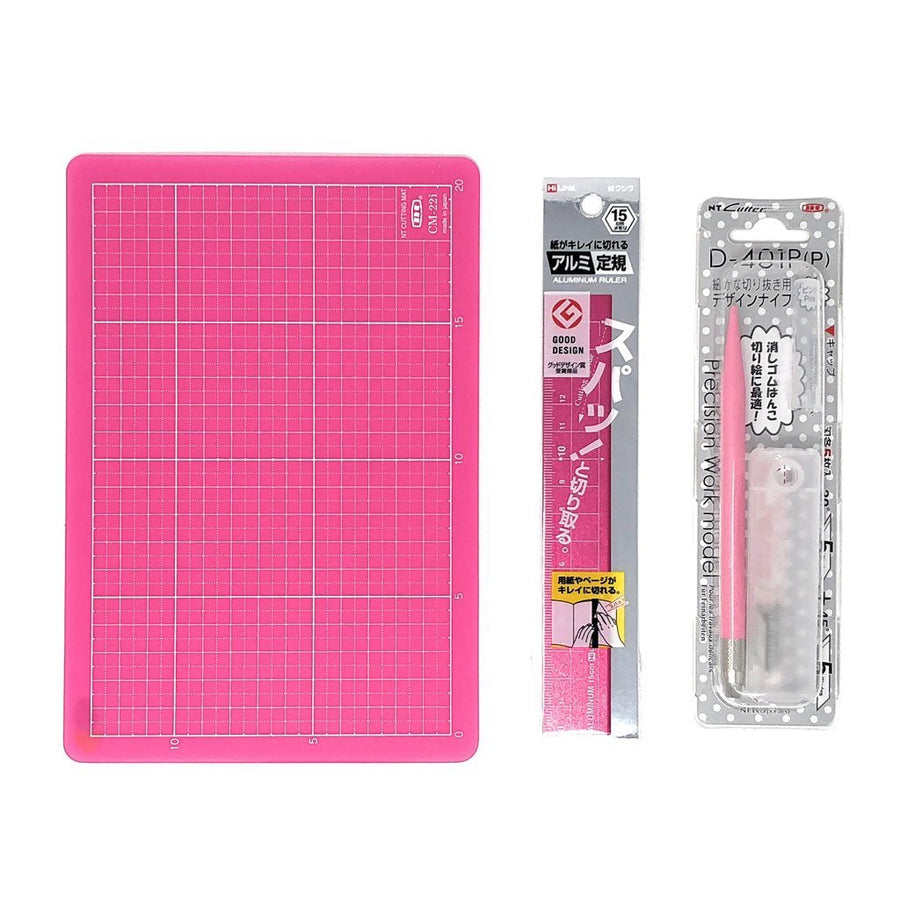 Pink Color Cutting Mat, Precise Cutting Knife and Metal Ruler 3 Items Pink Supply Set for Crafts A5 (5.83 x 8.27 inch)